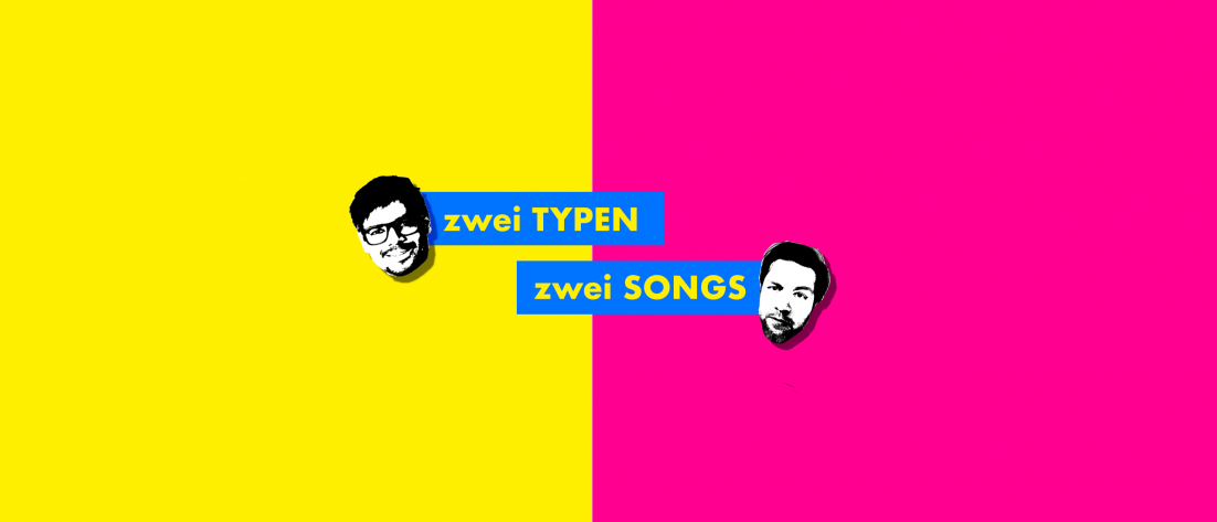 Alternatives Logo für den Musikpodcast zwei Typen zwei Songs